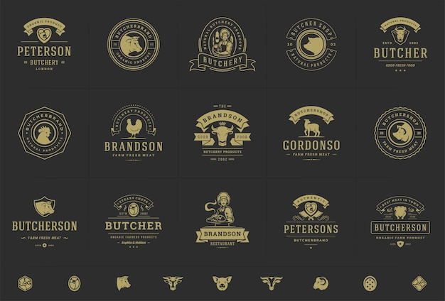 精肉店のロゴは、動物や肉のシルエットで農場やレストランのバッジに適したベクトルイラストを設定します