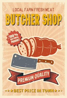Butcher shop retro style poster
