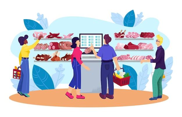 Мясной магазин с мясом еды