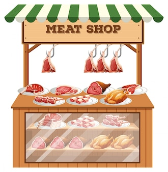 A butcher stall on white background