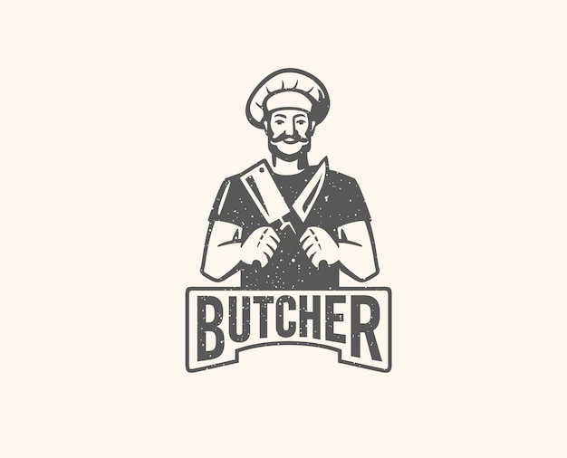Butcher with beard and large knife.