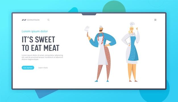 チーフトークとユニフォームプレゼンテーションプロダクションの肉屋の男性と女性のキャラクター。肉屋の売り手、レストランの従業員。漫画のバナー