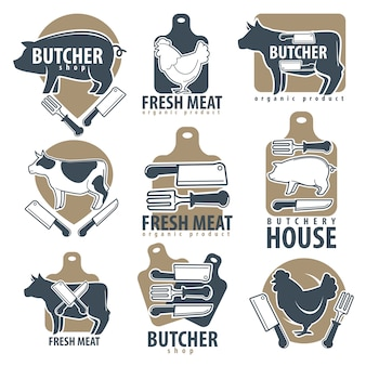 Butchery or butcher shop meat vector icons set