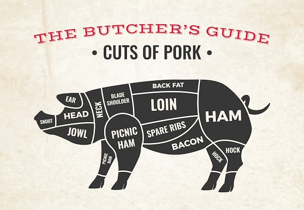 Butchery diagram with silhouette of pig and cuts of pork on old paper