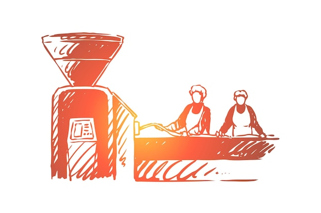Butchery, factory workers, people processing meat illustration
