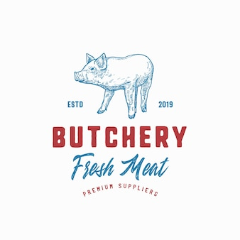 Butchery fresh meat abstract sign