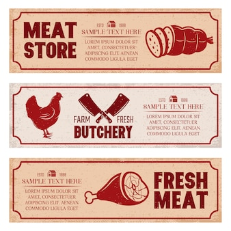 Butchery horizontal banners set