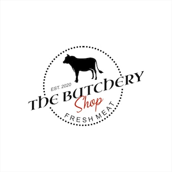 Butchery logo beef chop cut vector
