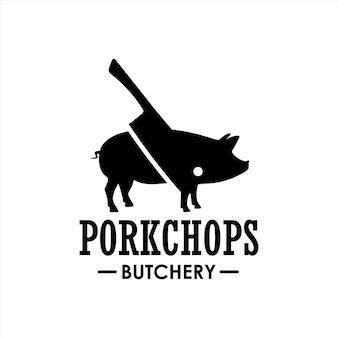 Butchery logo pork chop and cut vector