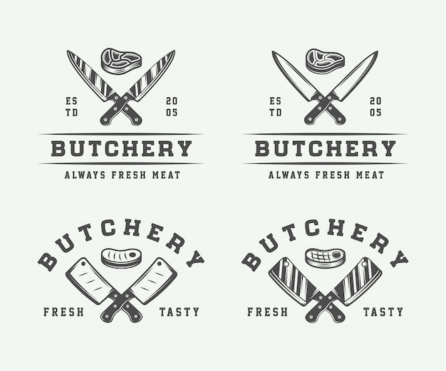 Butchery logos, emblems