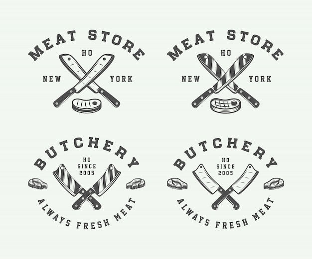 Butchery meat or bbq logos