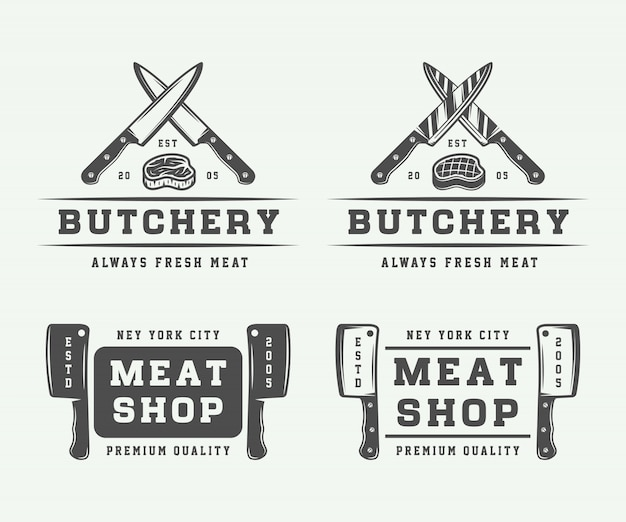 Butchery meat logo set
