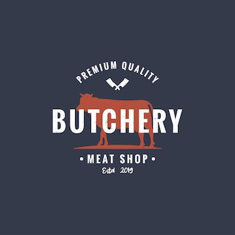 Butchery or meat shop vintage logo template.
