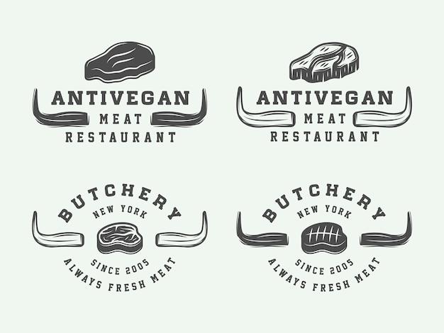 Логотипы мясного мяса, стейка или барбекю