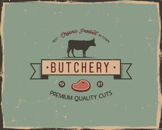 Butchery shop typography poster template in retro old style.