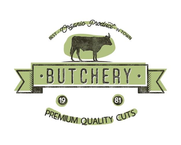 Винтажная эмблема мясной магазин. мясной магазин логотип шаблон в стиле ретро. винтажный дизайн логотипа, этикетки, футболки, футболки, значка и фирменного стиля. складе векторные иллюстрации.