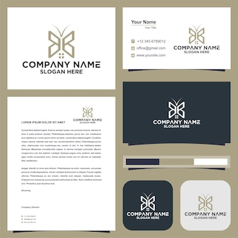 Buterflay real estate logo and business card