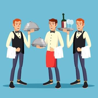 Работник дворецкого. человек дворецкий человек в форме с блюдом. ужин в ресторане