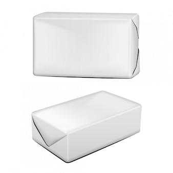 버터 골판지 포장 제품. 흰색 배경에 골 판지 상자입니다. 삽화