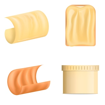 Butter curl block icons set. realistic illustration of 4 butter curl block vector icons for web