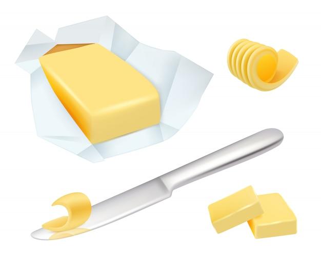 バター。マーガリン朝食用ミルクバター調理食品現実的な写真のコレクション