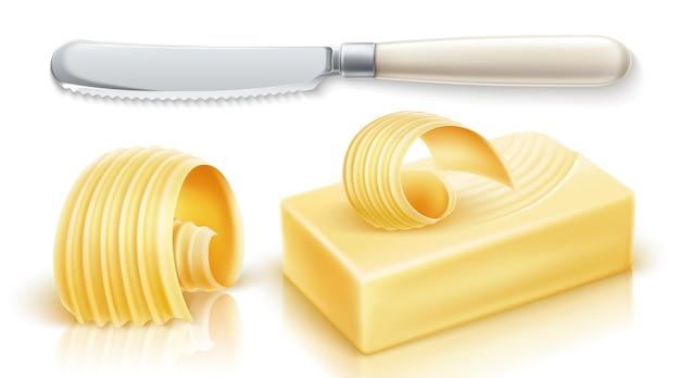 Масло, маргарин, спред, молочные продукты. железный столовый нож. реалистичные векторные иллюстрации.