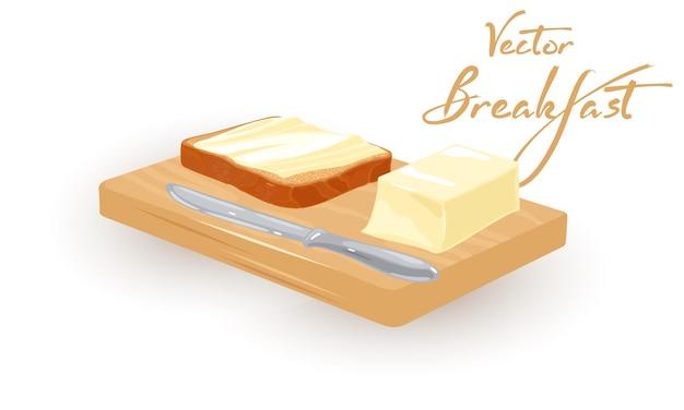 토스트에 버터가 묻어 아침 아침 점심 영양가있는 식사