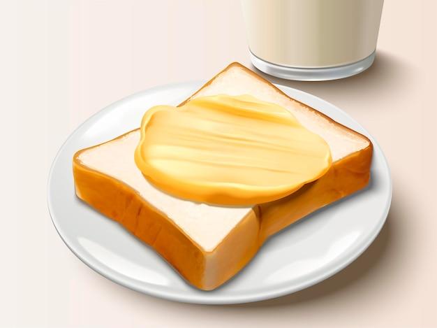 빵에 버터를 뿌리고 버터 토스트와 우유를 곁들인 맛있는 아침 식사