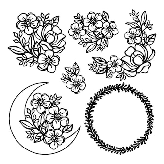 Buttercup monochrome collection with crescent from buttercup and rose wreaths and bouquets openwork for print cartoon floral cliparts vector illustration set