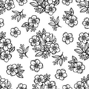 Бабочка шаблон цветочный монохромный бесшовный фон с цветами лютики и розы композиции ажур для печати мультфильм векторные иллюстрации
