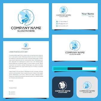 Премиум логотип butterflay и визитная карточка