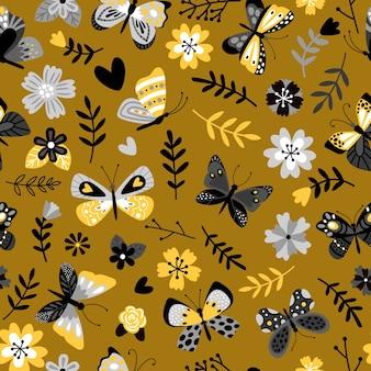 蝶と花のフラットなシームレスパターン。熱帯の昆虫や植物の枝の装飾的な背景。