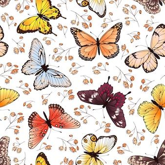 나비와 꽃 원활한 패턴 텍스처
