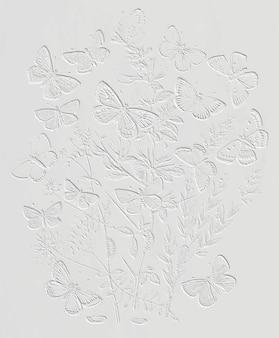 花のヴィンテージイラストベクトルの上に羽ばたく蝶と蛾、元のアートワークからリミックス。