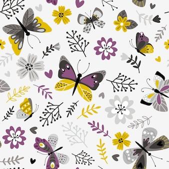 蝶と小枝のパターン。花の植物のシームレスな印刷、白、装飾的な春の牧草地の植物相ベクトルイラスト