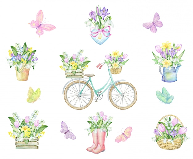 Butterflies, bicycle, planters, heart, rubber boots, karzinka, wooden box, watering can, bouquets of flowers. watercolor set. drawing, on a spring theme.