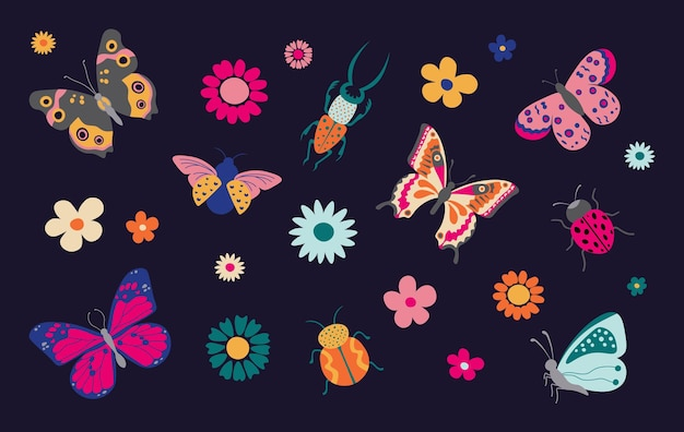 Butterflies and bugs spring and summer cartoon insects colorful butterfly and ladybug with flowers