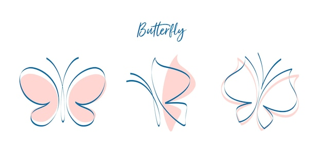 Butterflies in different positions