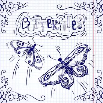 Бабочки украшают каракули