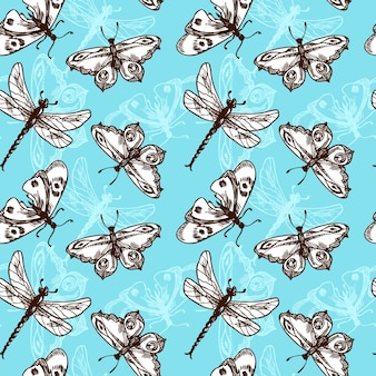 Butterflies and dragonflies insects blue sketch seamless pattern vector illustration