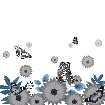 Butterflies flower floral summer spring frame background
