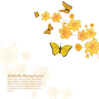 蝶花花夏春フレームの背景
