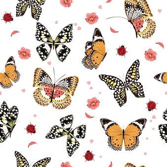 Butterflies flying in the garden, seamless pattern vector