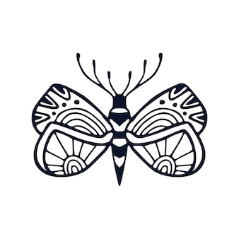 Butterflies illustration in ornamental style for tattoo or t-shirt design. kids interior print with hand drawn black and white butterfly