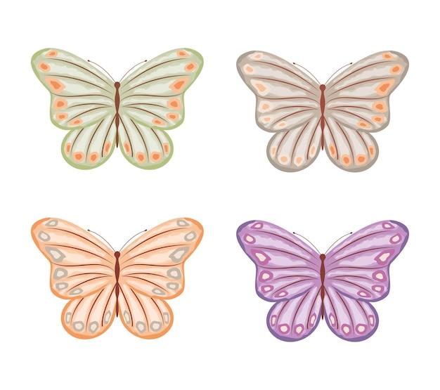 나비 그림 설정 빈티지 스타일 일러스트