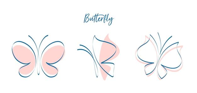 さまざまな位置にいる蝶
