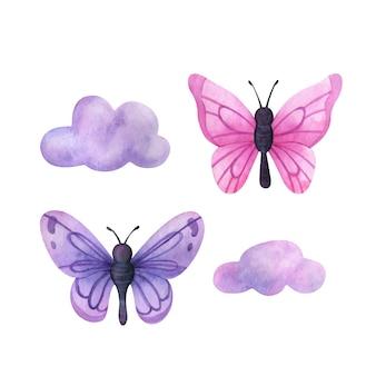 Бабочки в облаках набор иллюстраций в розовых и фиолетовых красивых насекомых
