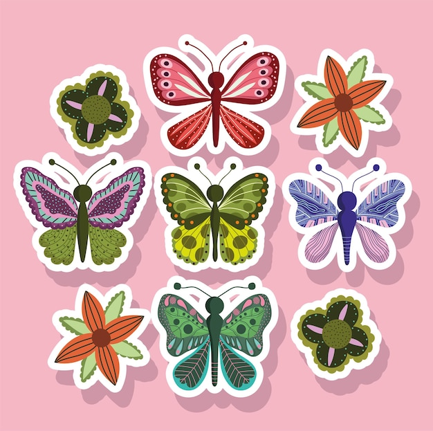 핑크에 스티커 스타일의 나비 곤충 자연 동물
