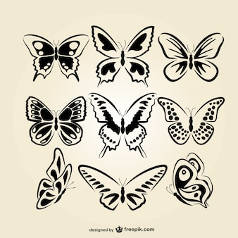 Butterflies line art set