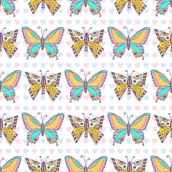 Butterflies pattern. hand drawn vector seamless print. can be used for wrapping, packaging and textile design
